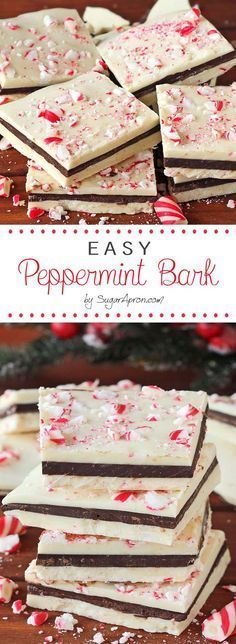 Peppermint Bark - Sugar Apron An unbelievably easy, no-fuss, christmas peppermint bark recipe.An unbelievably easy, no-fuss, christmas peppermint bark recipe. Mini Desserts, Holiday Desserts, Holiday Cookies, Holiday Baking, Holiday Treats, Holiday Recipes, Kosher Desserts, Easy Christmas Candy Recipes, Christmas Desserts Easy