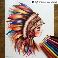 Ilustração linda by  @shining_star_draws with @repostapp -Little colorful Indian- I drew this with Stabilo pencils. #illustration #ilustração #índio  #art #artwork #artist #drawing #draw #colour #color #colorful #artshelp #gallery #american #style #arts_help #feathers #stabilo #pencil #pencils #sketch #girl #coloringbook #desenhoscolorir