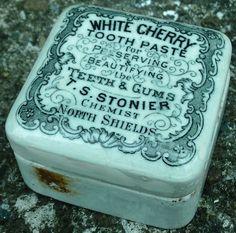 Victorian tip dug Uncommon Square pot lid & Base Stonier North Shields Chemist North Shields, White Cherries, North East England, Pot Lids, Vintage Bottles, Stony, Chemist, Pots, Victorian