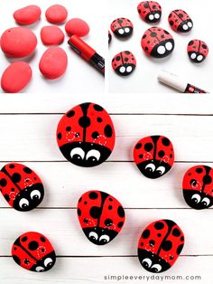 These ladybug rocks are fun and easy rocking painting idea for kids to make. They're a simple art project kids will want to do this summertime! Great for indoor or outdoor play! Source by simpleeverydaymom Ladybug Rocks, Ladybug Art, Ladybug Crafts, Stone Art Painting, Pebble Painting, Pebble Art, Lady Bug Painted Rocks, Painted Rocks Kids, Painted Pebbles