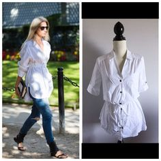 """NEW Crisp white long button down dress shirt tunic Bust-36-38"""" Length-26"""" Waist-adjustable Sleeve-12""""  Material is the same as a white dress shirt. It's a size 8 or medium. Design is a little bit longer, would be perfect to pair with black leggings for a street style city look. A staple for any wardrobes. The pics are to give you an idea of different ways to style a long white dress shirt like this one.  ONLY SELLING  #tunic #shirt #buttondown #whiteshirt #white #work #chic #city #basic…"""