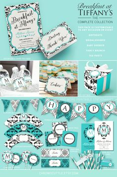 Complete Breakfast at Tiffany's theme invitation and party pack for Bridal Shower, Birthdays, Baby Shower. Tiffanys tea party,Tifannys baby by ChromoCuttle on Etsy https://www.etsy.com/listing/219979973/complete-breakfast-at-tiffanys-theme