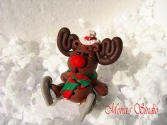 Reindeer on skates  Christmas  Figurine  Christmas by MoirasStudio