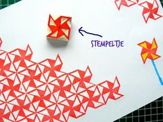 Simple stamp you could carve yourself. It can even be used to create a continuous pattern.