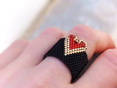 Heart Band Ring, Beaded, Black, Red, Gold, Valentines day gift
