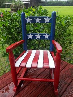 American flag rocking chair - Home Decor Americana Crafts, Patriotic Crafts, July Crafts, Holiday Crafts, Fourth Of July Decor, 4th Of July Decorations, July 4th, Hand Painted Chairs, Painted Furniture