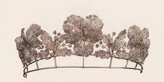 Wonderfully delicate violet-motif tiara from Chaumet in the Art Nouveau style; c. 1900.