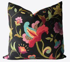 Decorative Designer Jacobean Floral Pillow Cover, 18x18, 20x20, 22x22, Throw Pillow via Etsy