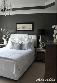 Love the wall color and tray ceiling. master bedroom