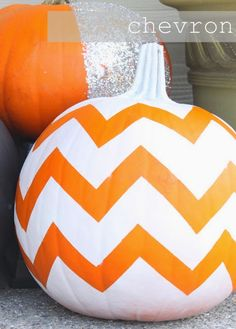 Super simple NO carve pumpkin decoration for Halloween ... make a pattern in duct tape, spray paint over and then yank off the duct tape ... couldn't be easier ...