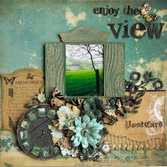 Sizzix Die Cutting Inspiration and Tips: Enjoy The View Layout with tons of Tim Holtz Alterations click through for tutorial Scrapbook Journal, Scrapbook Page Layouts, Travel Scrapbook, Scrapbook Albums, Scrapbook Cards, Scrapbooking Ideas, Scrapbook Templates, Scrapbook Designs, Metallica