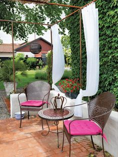 pergola -- or something like this with a metal frame with curtains and some lattices attached for vine plants