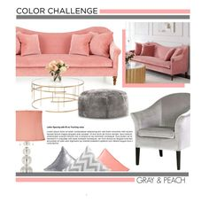 """Color Challenge: Gray & Peach"" by zaycelik ❤ liked on Polyvore featuring interior, interiors, interior design, home, home decor, interior decorating, Nuevo, Comfort Research, Vienna Full Spectrum and JCPenney Home"