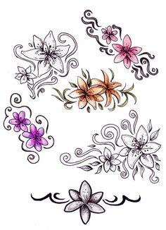 Lily Tattoo by meripihka on DeviantArt Sister Tattoo Designs, Sister Tattoos, Tattoo Designs For Women, Flower Tattoo Drawings, Flower Tattoo Designs, Flower Designs, Tattoo Flowers, Draw Flowers, Jasmine Flower Tattoos