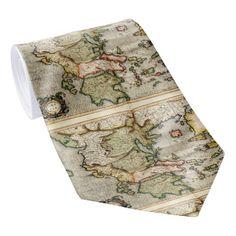 Vintage Map of Greece (1596) Neck Tie