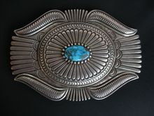 Thomas Curtis ~ Navajo Sterling ~ Turquoise ~ Large Belt Buckle Turquoise Jewelry, Silver Jewelry, Navajo Jewelry, Silver Belts, Native American Jewelry, Belt Buckles, Ethnic, Artists, Jewels