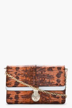 KENZO Mottled orange reptile leather Convertible Clutch