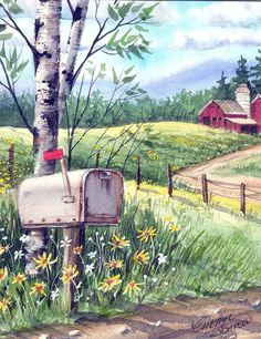 """Now you have gone through the optical mirror of my music """"Fire, Air, Water, Earth, Woman"""". Landscape Drawings, Watercolor Landscape, Watercolor Flowers, Landscape Paintings, Watercolor Paintings, Art Drawings, Watercolors, Farm Paintings, Arte Country"""