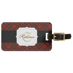 NEW! Customize: Adorable trendy Red and Black tartan luggage tag with your Monogram by #PLdesign #TartanGift #MonogramGift #LuggageTag