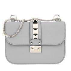 nice Valentino Valentino Tasche - Rockstud Lock Shoulder Bag Small Pastel Grey - in grau - Umhängetasche für Damen