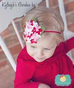 Valentines Red Pink White Beaded Hydrangea by KyleighGraceDesigns