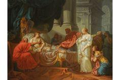Jacques-Louis David (French, 1748–1825). Erasistratus Discovers the Cause of Antiochus's Disease, 1774. Oil on canvas, 47 1/4 x 61 in. (120 x 155 cm). École des Beaux-Arts, Paris (PRP 18). Courtesy American Federation of Arts.