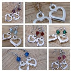 Wholesale Heart Earrings Crystal Birth Stone Colors 7 by go2girl