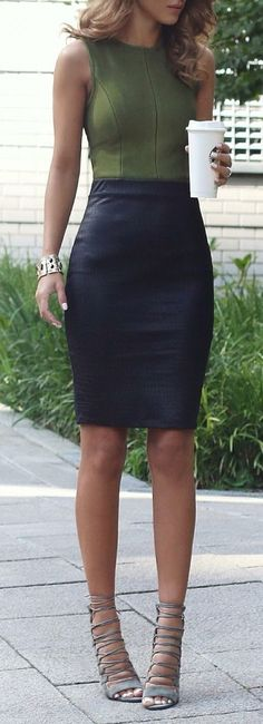 |•| Fashion |•| •Olive Green Bodysuit •Black Leather Pencil skirt •Grey Laced Up Heels x