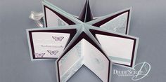 Tutoriel Mini Album en Etoile – Djudiscrap Kirigami, Mini Albums Scrapbook, Star Cards, Mini Books, Scrap Books, Folded Cards, Making Ideas, Wedding Cards, Stampin Up