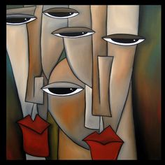 Popular - Original Large Abstract Faces Modern Art Painting by Fidostudio