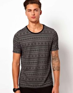 ASOS T-Shirt With All Over Jacquard - Wantering
