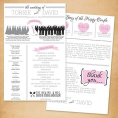 Wedding Program: 2-sided Infographic // Printable or Printed by TheMombot, $30.00