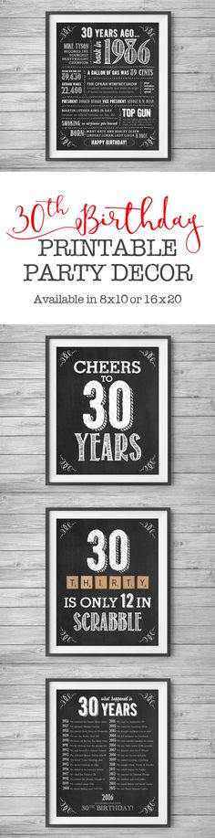 #30th Birthday, Printable Party Decor, 4 Unique 8x10 Signs, Instant Digital Downloads, DIY Print at Home by #NviteCP