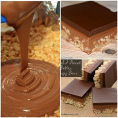 Move over rice kripsy treats! There's a new wicked treat in town. Can you say.....Caramel Peanut Butter Rice Krispy Treats? They are finished off with a beautiful, thick chocolate glaze! These cut so perfectly that you will impress yourself! Just be sure to use a nice sharp knife!