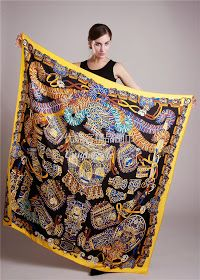 Buy Hermes Sous l'Egide de Mars silk shawl silk twill giant plume scarf outlet ,hand rolled, 55'' x 55''   this scarf is the same like the o...