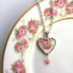 Broken China Jewelry  china heart pendant necklace  antique