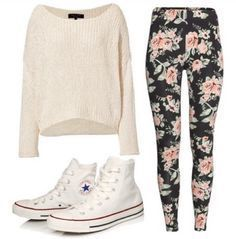 Floral leggings and cream sweater Lazy Day Outfits, Cute Teen Outfits, Cute Comfy Outfits, Chill Outfits, Outfits For Teens, Casual Outfits, Comfy Clothes, Everyday Outfits, Pretty Outfits