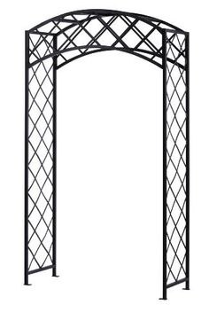 Panacea Products Arched Lattice Arbor, Black by Panacea Products. $156.84. Measures 93-inches in height by 50-inches in width by 20-inches in depth. Four horizontal bars at the top of the unit support the arch, and keep the unit steady. Made of steel and the square metal frame creates a perfect contrast to the flat metal lattice. The black, powder coated finish brings elegance and weather resistance to the piece, while the steel construction lends sturdiness. Arc...