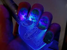 wickedclothes: Glow in the Dark Nail Polish Want galaxy nails? This glow in the dark nail polish is reminiscent of the cosmos! Sold by Speciallita. Cosmic Nails, Galaxy Nails, Dark Nail Polish, Dark Nails, Light Nails, Polish Nails, Cute Nails, Pretty Nails, Hair And Nails