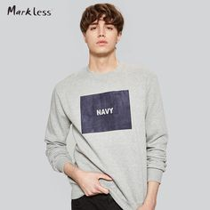 Markless Men Tops Casual Sweatshirts Fashion Cotton Sweatshirts Gray O-neck Pullover Male Comfortable Soft Spring New