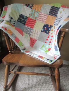 Happy Go Lucky - Yellow, Navy, Orange, Green, Red - Baby Crib Stroller Floor Quilt Play Quilt