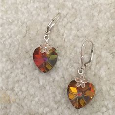 Earrings Swarovski Hearts Free With $35 Order