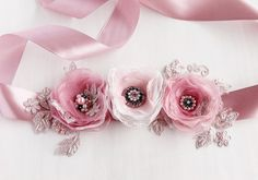 Dusty Pink Wedding Sash Flower Bridal Sash Prom by HandyCraftTS