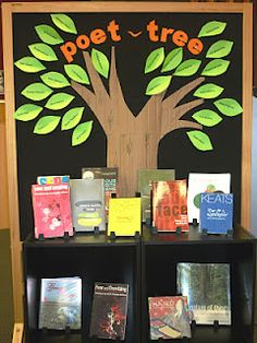 Poetry display. Instead of just using it to show off poetry options to the kids, let them get involved too by writing a short poem on the leaves!