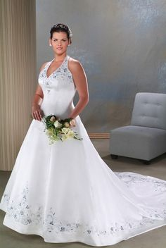 af32fadcc60 A-line Halter Chapel Train Sleeveless Satin Plus Size Wedding Dress