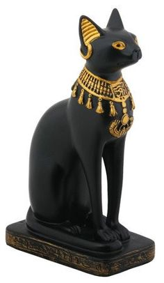 This hand painted, black and gold Bastet sits atop a weathered hieroglyphic-etched base. Bastet served many different roles in ancient Egyptian mythology and is best known today for her association wi
