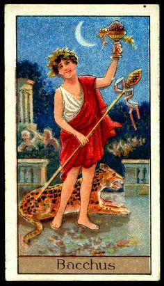 """Cigarette Card - Bacchus. """"Mythological Gods & Goddesses""""."""