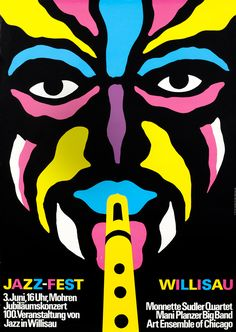 Niklaus Troxler, poster artwork for Jazz-Fest Willisau, 1978. Monette Sudler Quartett. Switzerland.