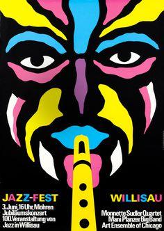 Niklaus Troxler, poster artwork for Jazz-Fest Willisau, 1978. Monette Sudler Quartett. Switzerland.
