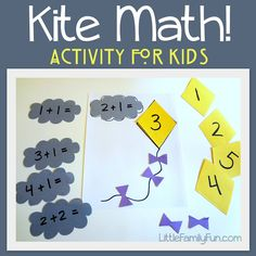 Kite Math for kids! Fun and simple activity to create, and great for spring!